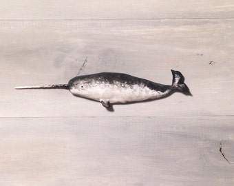 Narwhal wall mount sculpture