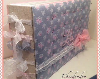 Album photos or guestbook quilted floral A4 96 pages for birth, baptism or baby shower