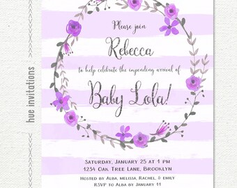 Purple baby shower invitations staylivingroom purple baby shower invitation purple violet stripes floral wreath silver glitter baby girl shower filmwisefo