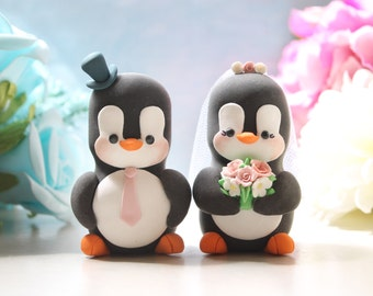 Unique wedding cake toppers Penguins - bride and groom figurines personalized elegant animal wedding gift pink white cute rustic funny