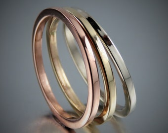 Tricolor Gold Ring Set, 14K Solid Rose Gold, Yellow Gold and White Gold Ring Set of 3, Wedding Rings