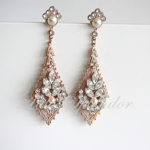 Rose gold wedding earrings chandelier bridal earrings like this item mozeypictures Image collections