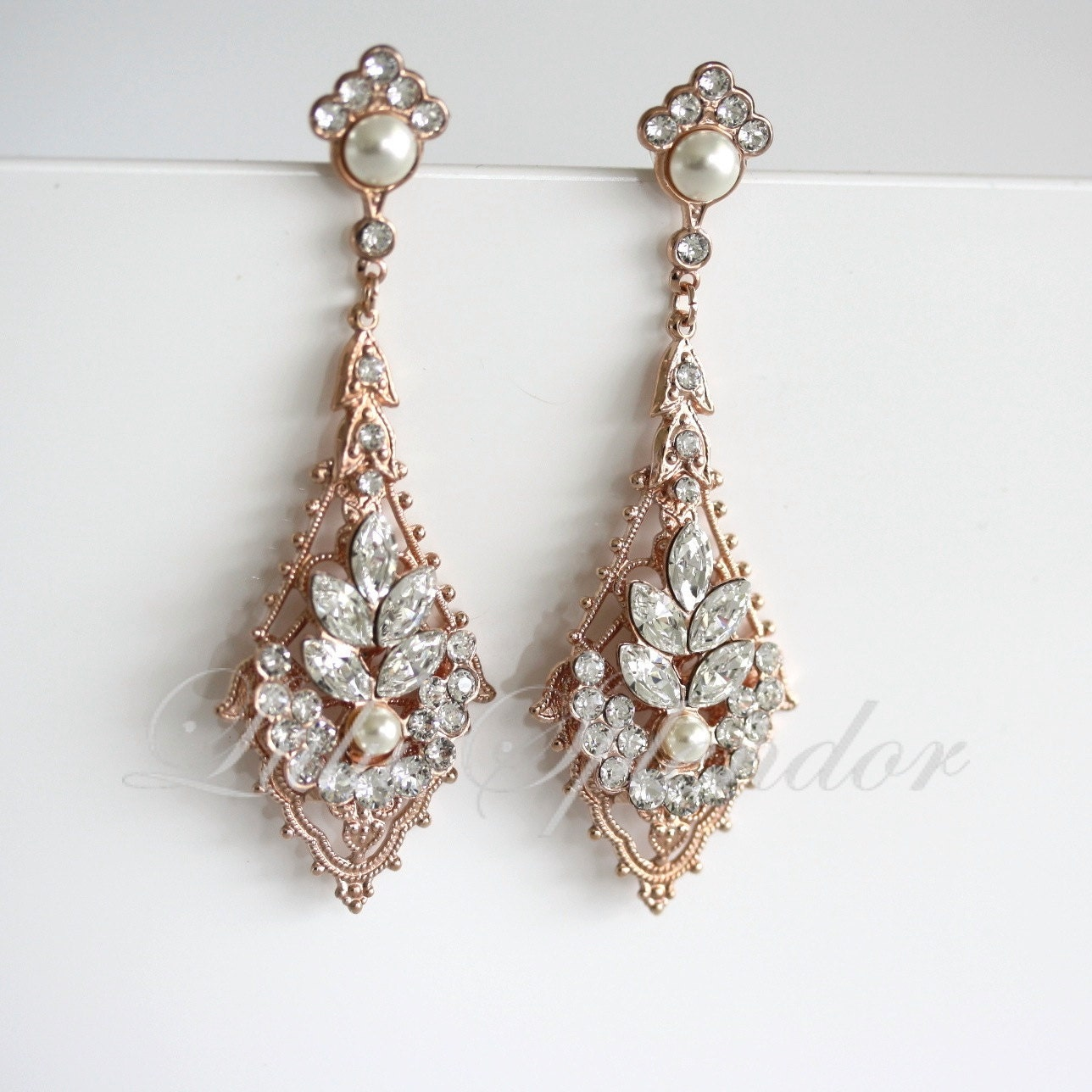 Rose gold wedding earrings chandelier bridal earrings zoom arubaitofo Gallery