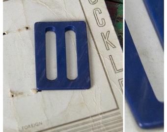 vintage buckle, 1930's / 40's small blue plastic buckle, Art Deco style, rectangular slider buckle, craft/sewing supply, dress / belt / hat
