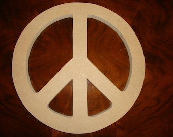 Unfinished 12 Inch Diameter MDF Wood Peace Symbol Mosaic Base Craft Shape Choose Your Thickness