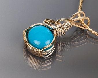 Turquoise gold pendant, Turquoise, Wire wrapped jewelry, Gold jewelry, Art, Handmade jewelry, Wire wrapped pendant, Sterling silver, Blue