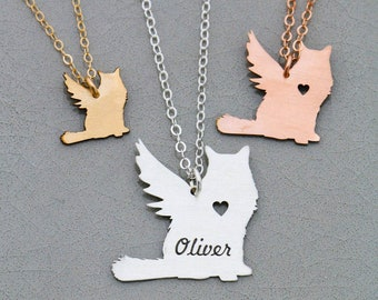 Cat Memorial Necklace • Cat Memorial Gift Cat Jewelry Cat Necklace Pet Loss Gift Personalized Memorial Engraved Pet Angel Cat
