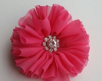 Hot pink chiffon flower hair clip, hair clip, pink hair clip, rhinestone detail, girl hair clip, photography prop, flower hair clip