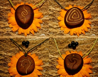 Galactic spirals !    / Avocado stone necklace , avocado pit pendant , seed carving / natural jewelry , handcraft