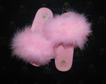 NEW - Baby PInk Fuzzy Slides