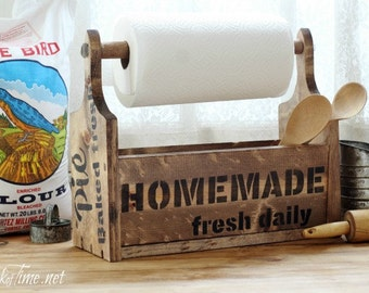 Farmhouse Wooden Tote with Paper Towel Holder - Handmade Rustic Graphics Kitchen Storage Orgaization One of a Kind