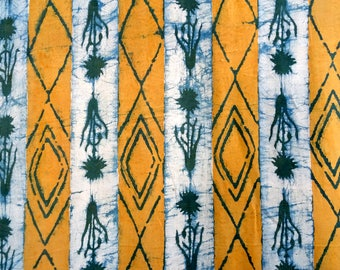 fabric, cotton block print, green, yellow and Ecru stripes