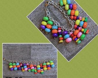 CB-06 Color overload beaded charm bracelet