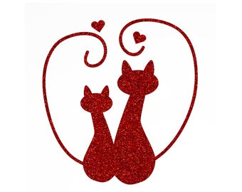 Pattern cats in love and hearts in Thermo Flex - choice of color