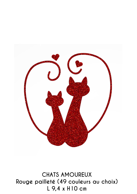 Motif chats amoureux et petits coeurs en flex thermocollant - Coeurs amoureux ...