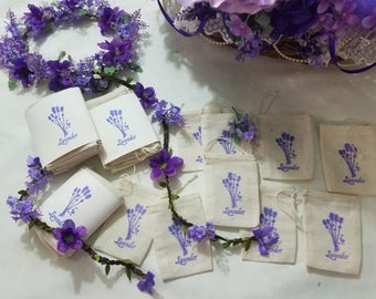 10 Empty Lavender Sachet Bags, 3 x 4 Cotton Muslin Drawstring Bags Hand Stamped Lavender Flower, Bridal Wedding Baby Shower Party Favors
