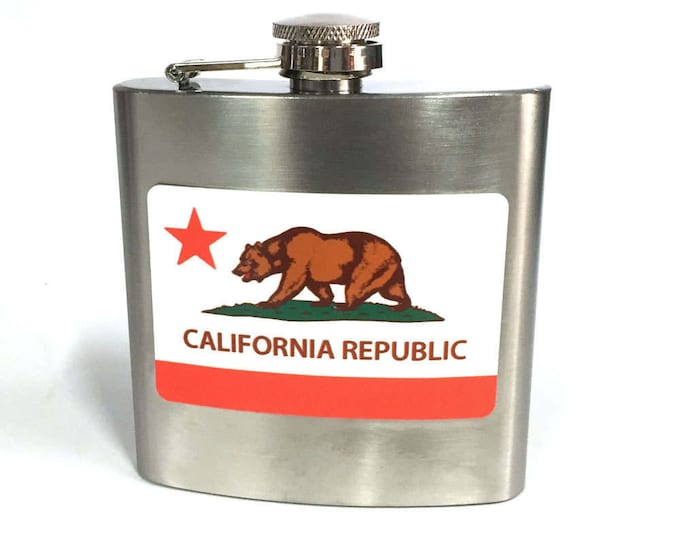 Flask 6oz, California flag, California Bear, customizable, Stainless Steel, gift for friends or yourself