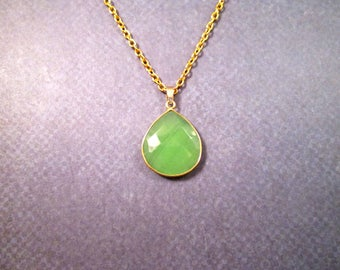 Bezel Drop Necklace, Green Chalcedony Pendant, Gold Chain Necklace, FREE Shipping U.S.