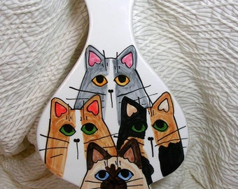 Cat Quartet Vase Ceramic Original Design Kiln Fired Signed Handmade by GMS