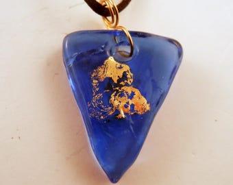 Lampwork Pendant gold foil pendant Blue