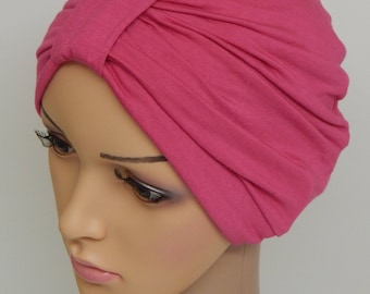 Hot pink turban hat, chemo bonnet, cancer head wear, full head covering, women's hair loss cap, surgical hat, stretchy chemo cap