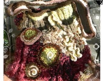 Mossy Berries Maroon Green Yarn Lovers Cross-body Knitted Purse