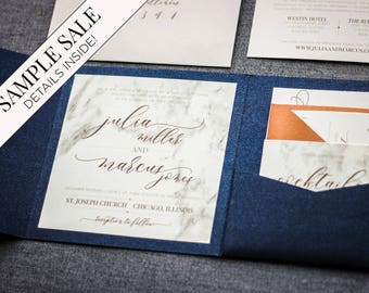 Custom Invitation, Wedding Invitations, Navy Blue Wedding, Modern Marble Blue and Copper Set with Name Tag - Modern Elegance PF-NL SAMPLE