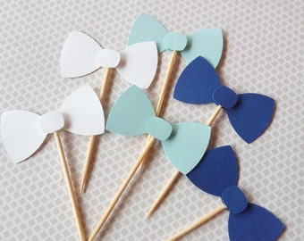 12 Bow tie cupcake picks | Baby shower decorations | Bow Tie 1st Birthday Toppers | Blue party decorations