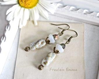 Earrings BOHO Flowers Shades of white pearl blossom