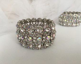 Wedding Bracelet, Bridal Bracelet, Bridal Jewelry, AB Crystal Rhinestone Cushion Stretch