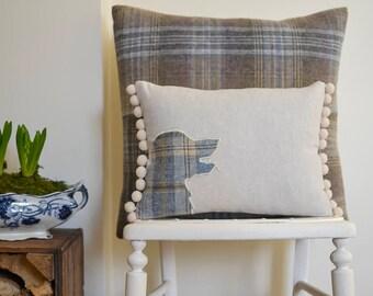 Golden Retriever cushion with pompom trim | Tweed Golden Retriever cushion | Golden Retriever gift | Golden Retriever owner | Retriever gift