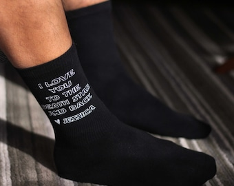 I Love You to the Death Star and Back Socks, Custom Printed Personalized Men's Dress Socks, Socks Sold by the Pair in Assorted Colors