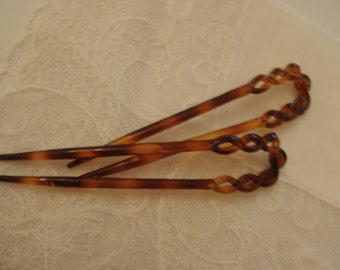 Vintage French Hair Picks Chignon Pins Hair Combs Forks Twisted Tops 1970s Faux Tortoise Shell Stylish 4 inch (10 cm)
