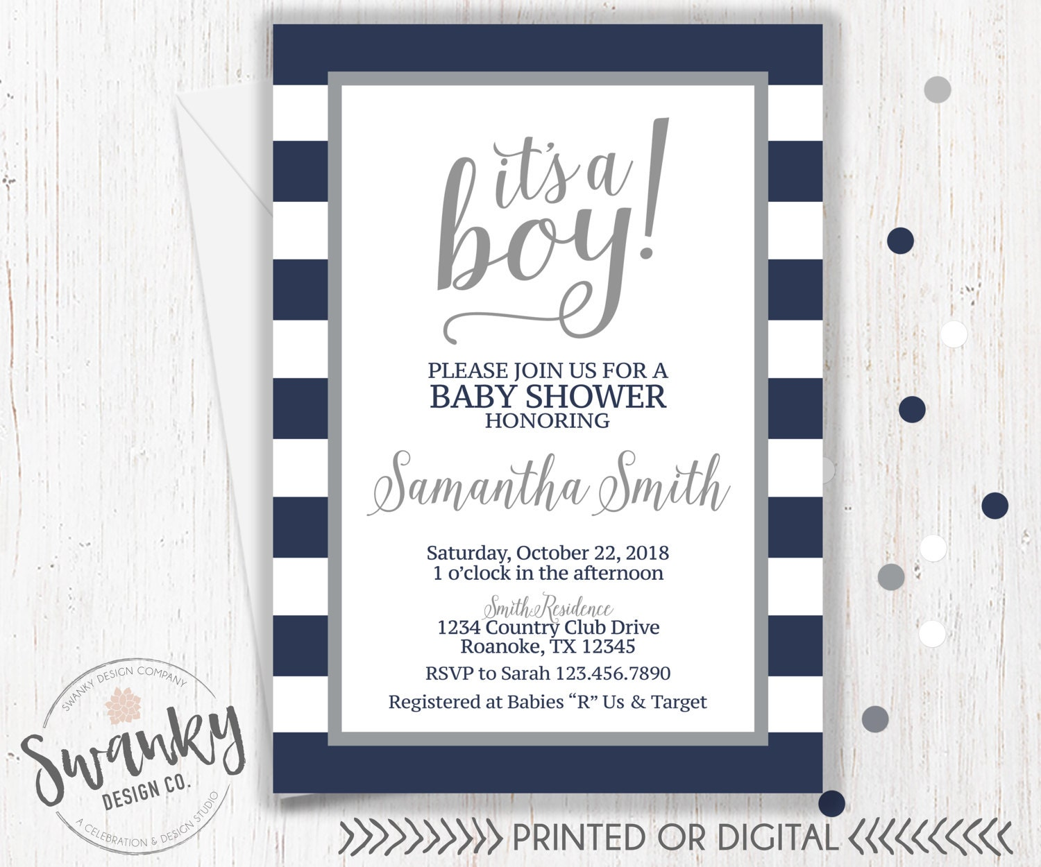 Navy and Gray Baby Shower Invitations Boy Baby Shower