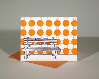 Baltimore Letterpress Card   Greatest City in America Bench   purple & orange single blank card with envelope
