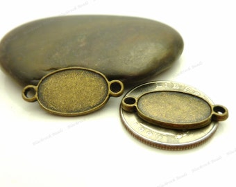 Bulk 30 Oval Cabochon Connector Settings - 2 Sided - Antique Bronze Tone - Fits 16x12mm Cab, Bezel Trays, Cameo Base, Pendant Blank - BH4