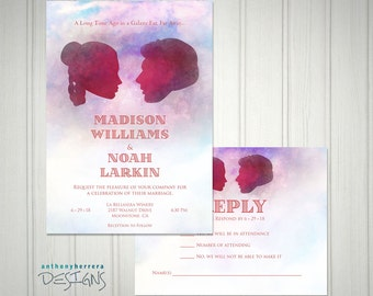 I Love You, I Know, Watercolor Art, Printed Wedding Invitation and RSVP Card with Custom Names and Info