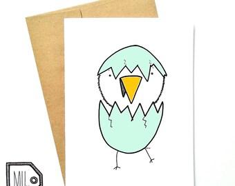 Easter card - chick card - spring card - funny card - chick illustration - egg illustration
