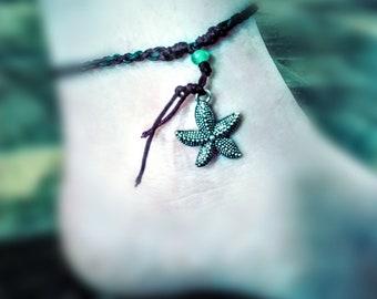Friendship String Charm Ankle Bracelet. Starfish Ankle Bracelet. Ocean Bracelet.