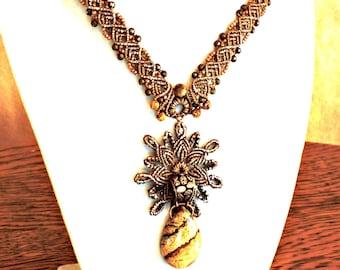 Picture jasper pendant, Micro-macrame necklace, Copper, Gold