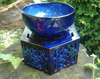Hexagon ceramic candle holder / candle warmer / shadow lamp + bowl | blue black