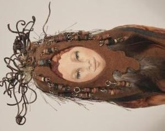 Spirit doll - Earth Spirit, OOAK, hand-painted face