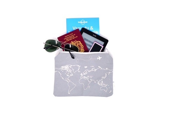 Grey map travel wallet travel pouch passport holder world gumiabroncs Images