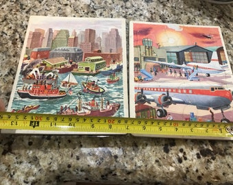 Vintage lot of 2 frame tray puzzles. Planes, boats