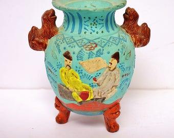 Japanese Vintage Asian Retro Robin Egg Blue MORIAGE Style Footed Art Pottery Vase Foo Dogs Ornate