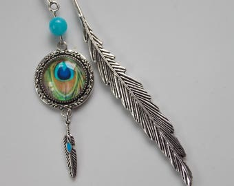 Peacock feather bookmark and agate bead