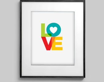 LOVE Heart Baby or Family or Wedding or Couples Wall Art Room Decor Print for Nursery, Home or Office