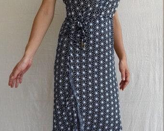 Dress cross -japan hemp print black