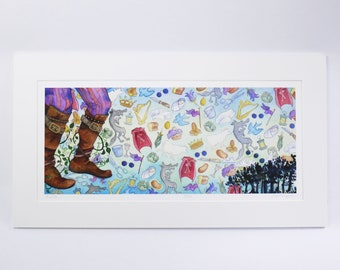 INTO THE WOODS limited edition faerie tale feet signed print musical sondheim lapine broadway art boots jack red riding hood cinderella