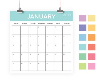 Square 2019 Calendar Template | INSTANT DOWNLOAD | Color Coded Pastel Large Monthly Printable Minimal Desk Calender | Prints 12 x 12 Inches